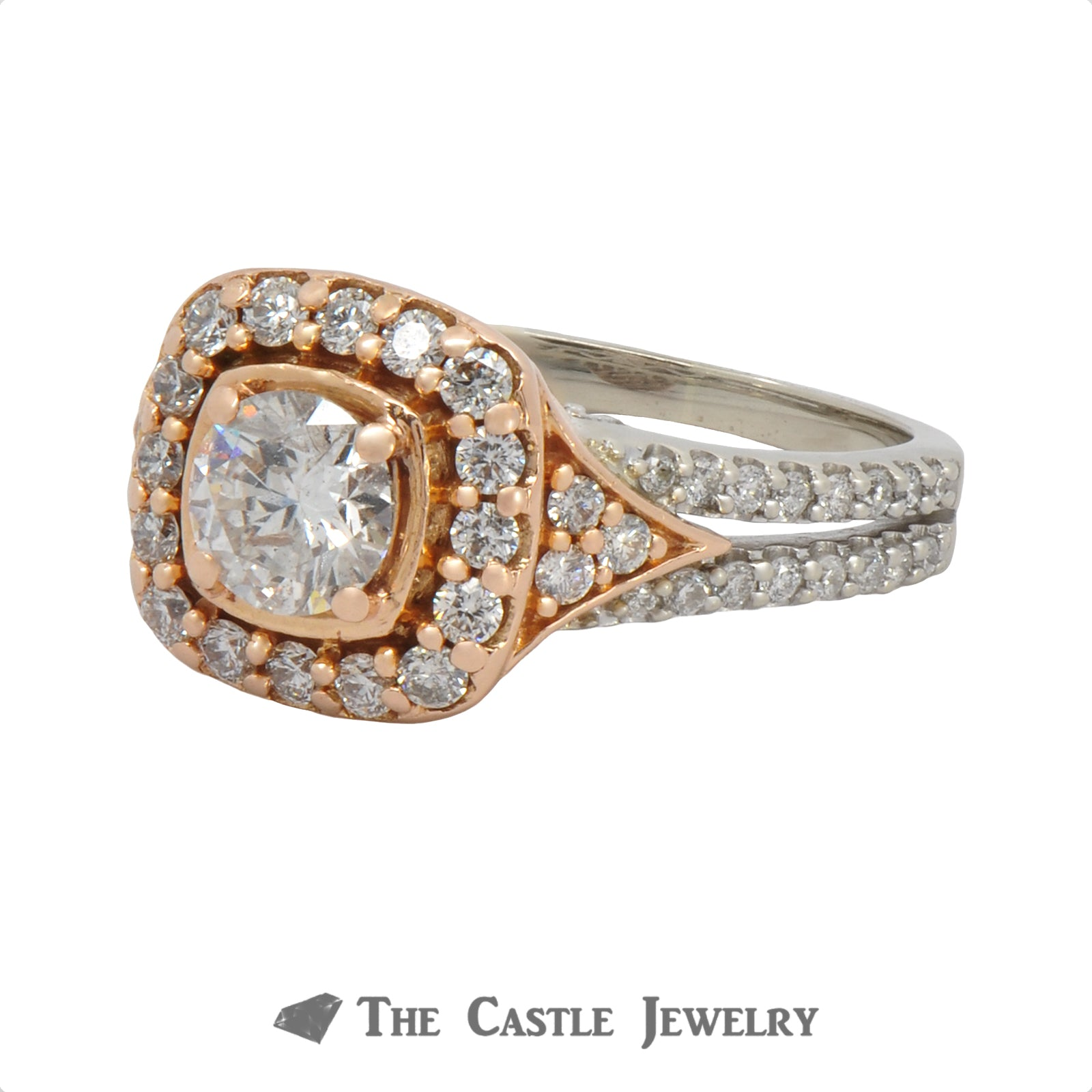 1.25cttw Diamond Engagement Ring with Halo & Accents In 14K Rose And White Gold-1