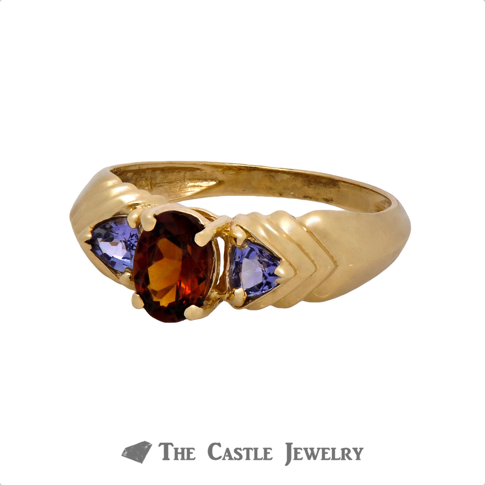 Oval Cut Garnet Ring with Trillion Cut Tanzanite Accents in 10k Yellow Gold Stair Step Setting