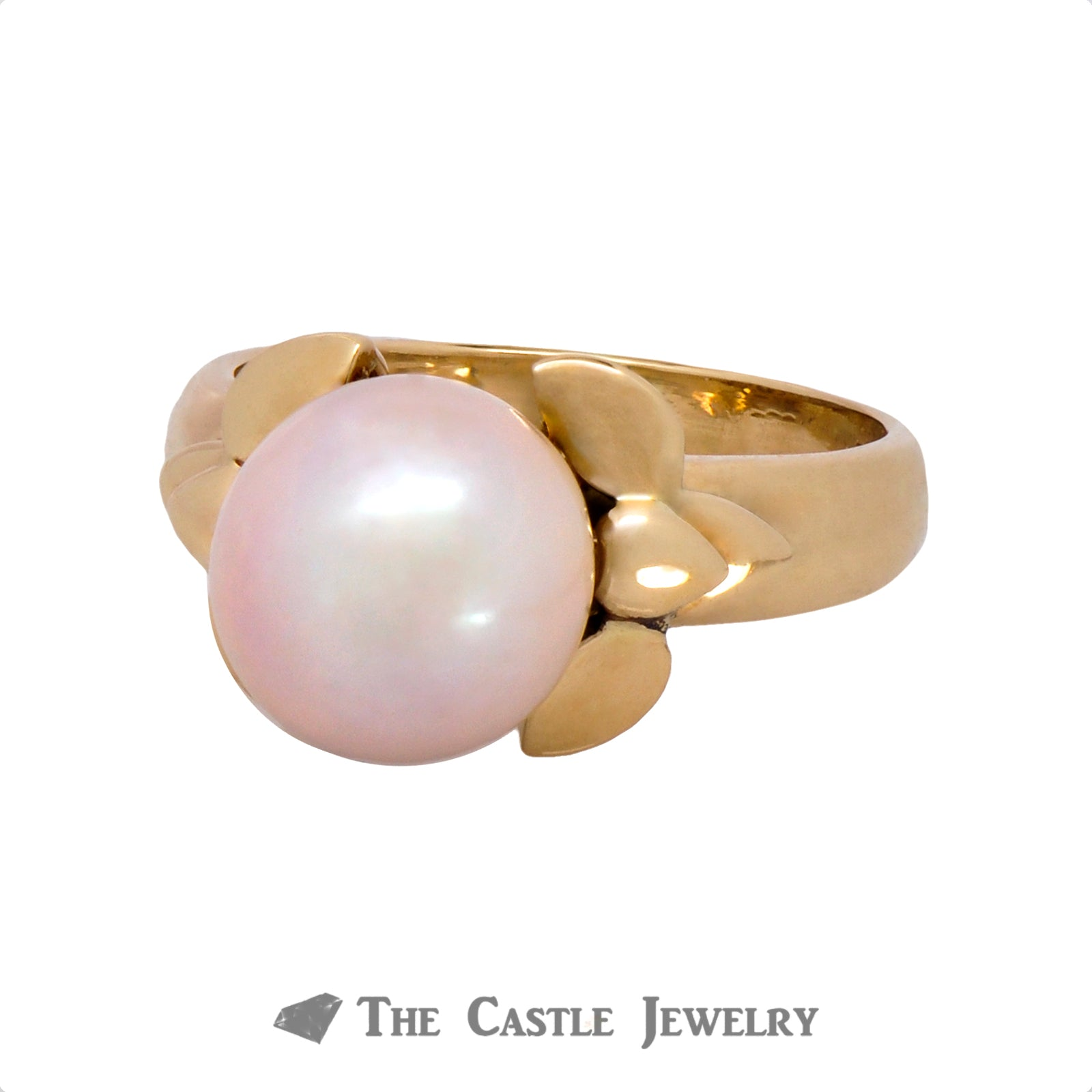 Pearl Ring with Fancy Bow Design Sides in 14K Yellow Gold-2