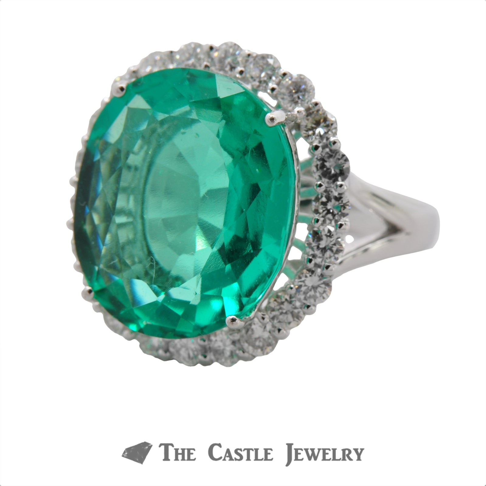 Synthetic Light Green Russian Green Beryl Ring with Diamond Halo-2