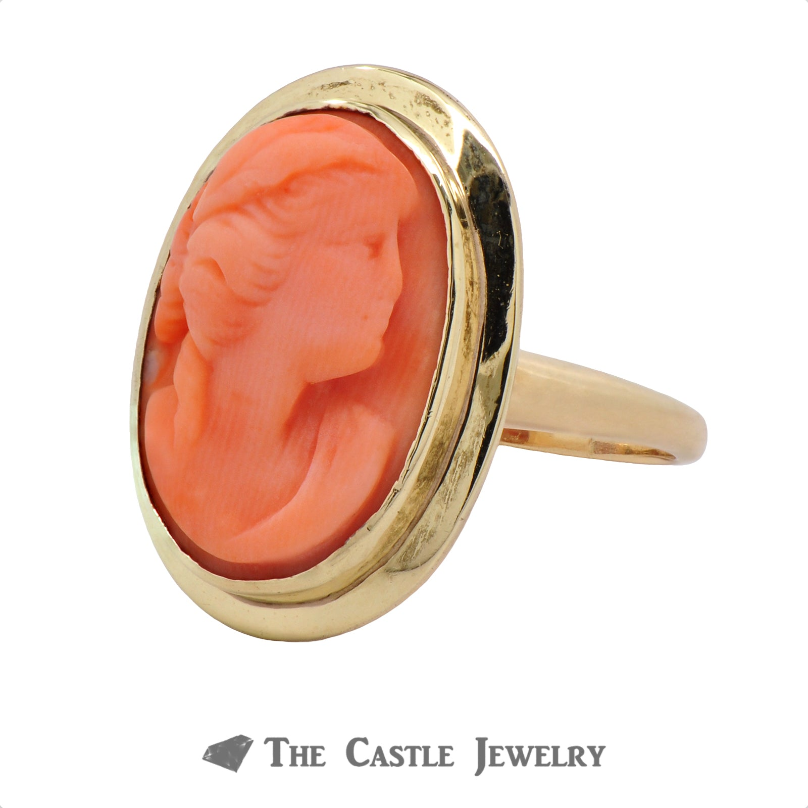 Vintage Style Pink Coral Cameo Ring In 14K Yellow Gold