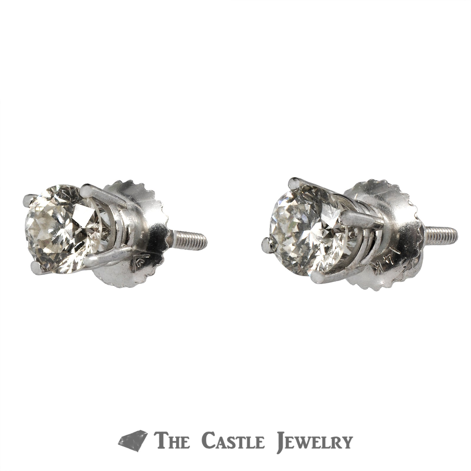 1cttw Round Diamond Stud Earrings with Screw Backs in 14K White Gold
