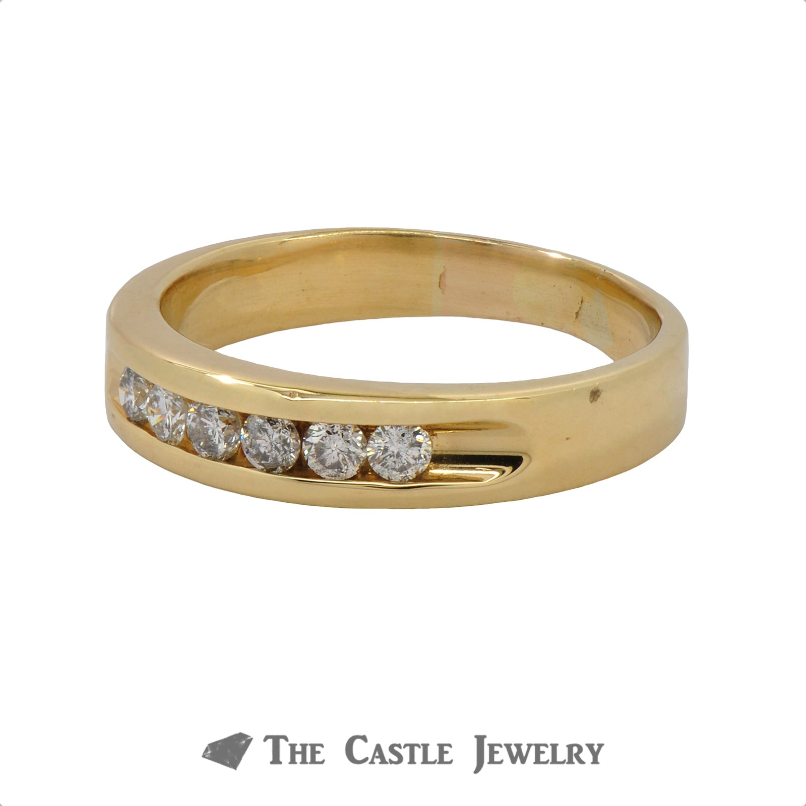 Gent's Channel-Set Round Brilliant Cut Diamond Wedding Band .35cttw In 18K Yellow Gold-1
