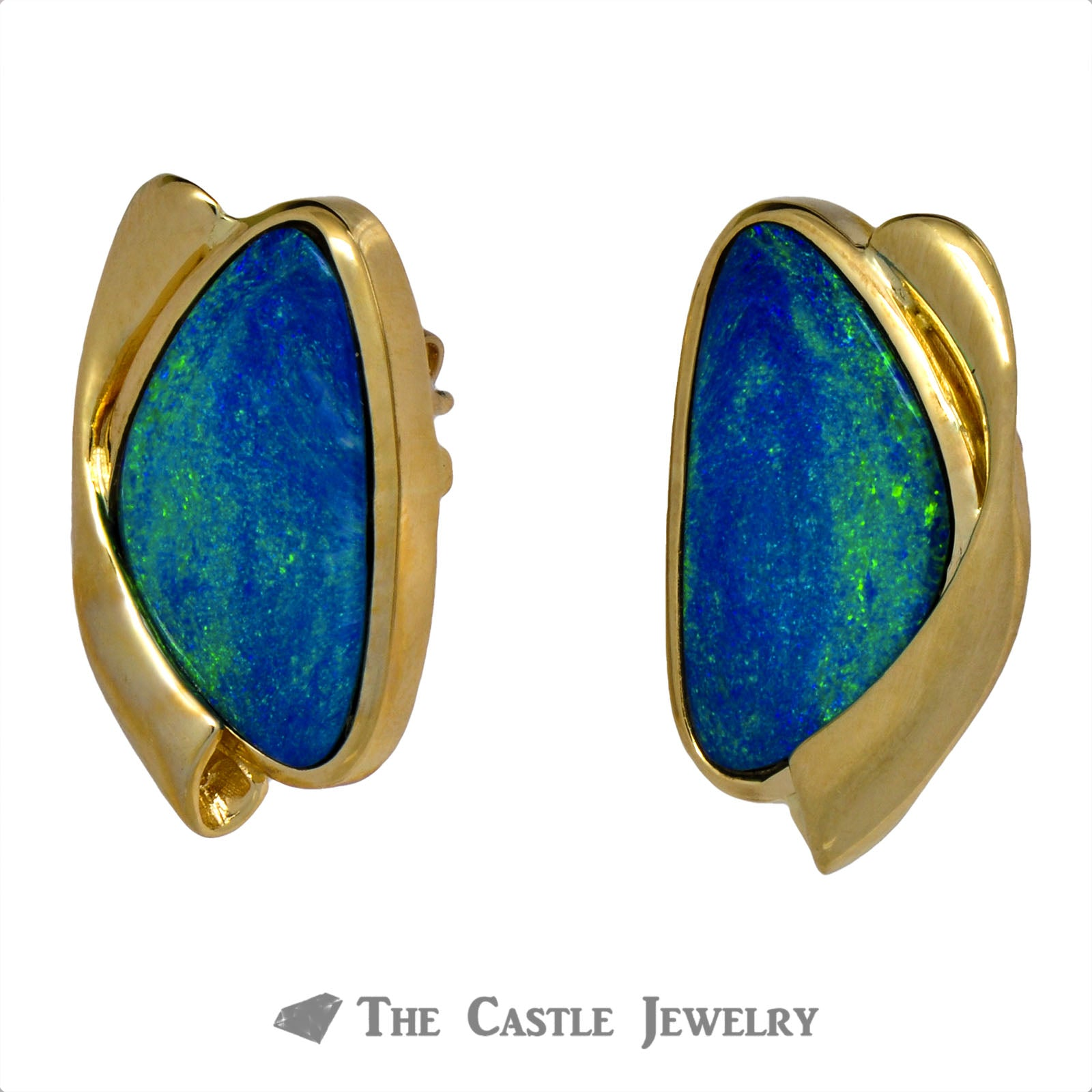 Stunning Black Opal Earrings with Twisted Hollow Gold Design-1