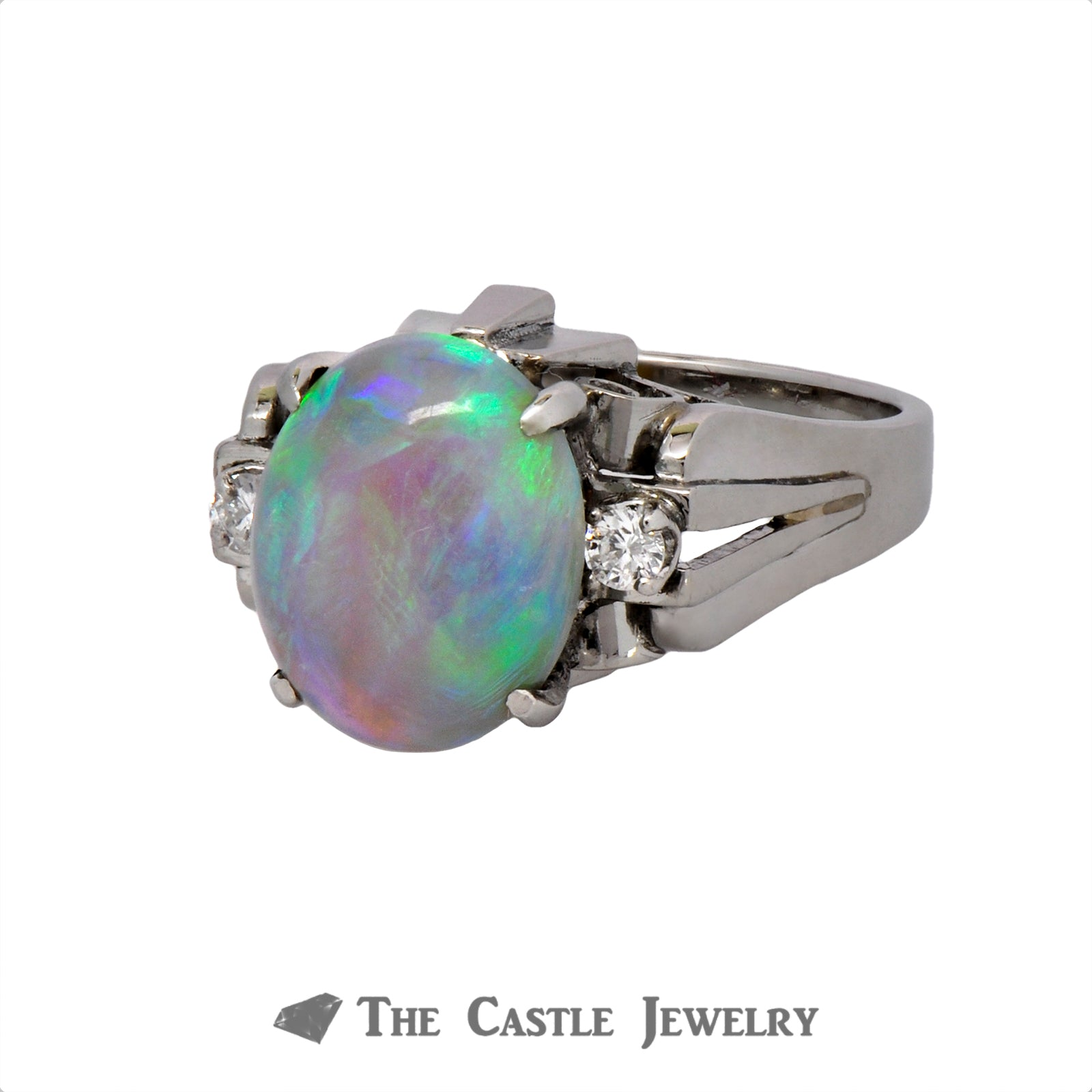 Vintage Opal Ring with Diamond Accents Crafted in a Platinum Cathedral Mounting-2