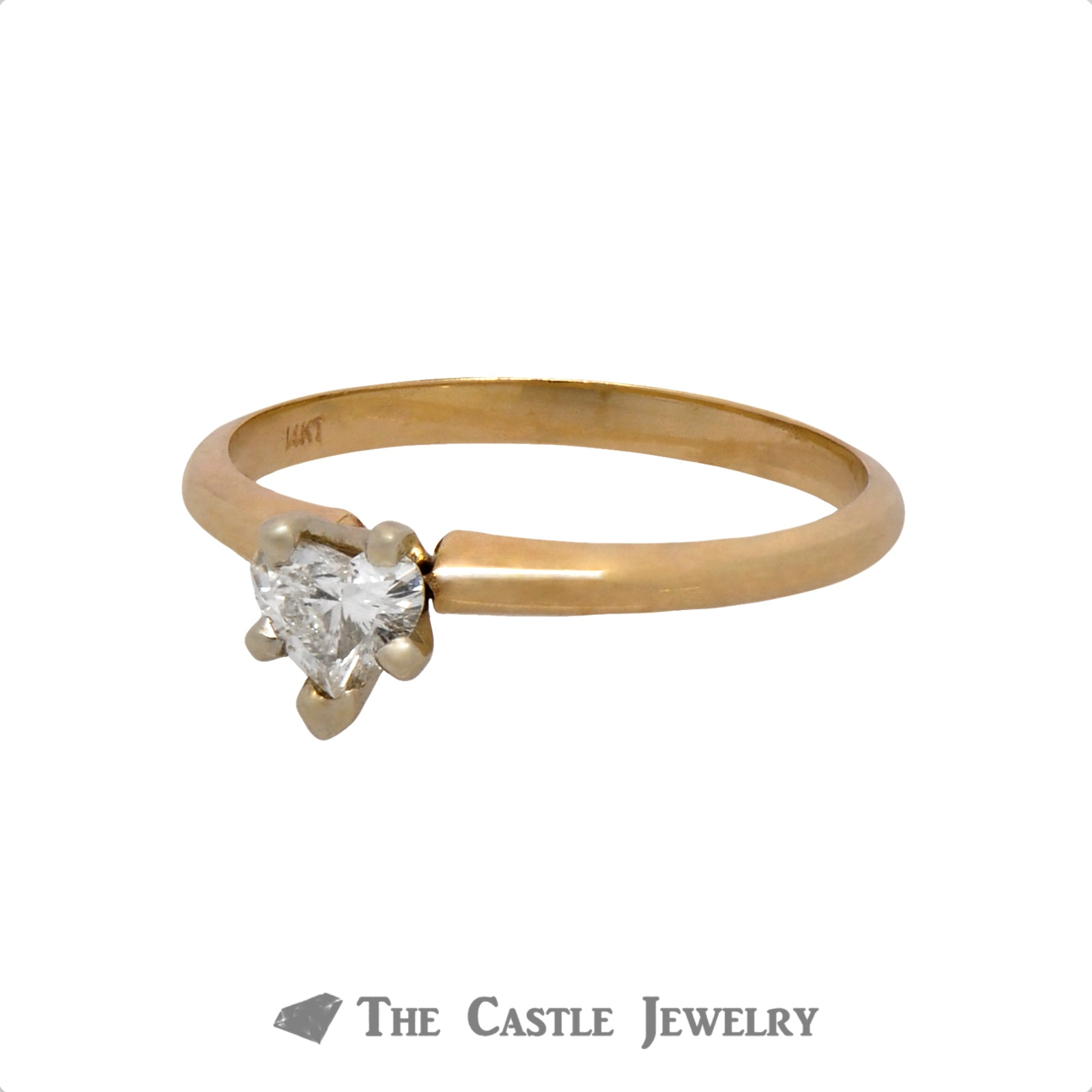 .30ct Heart Cut Diamond Solitaire Engagement Ring in 14k Yellow Gold-2