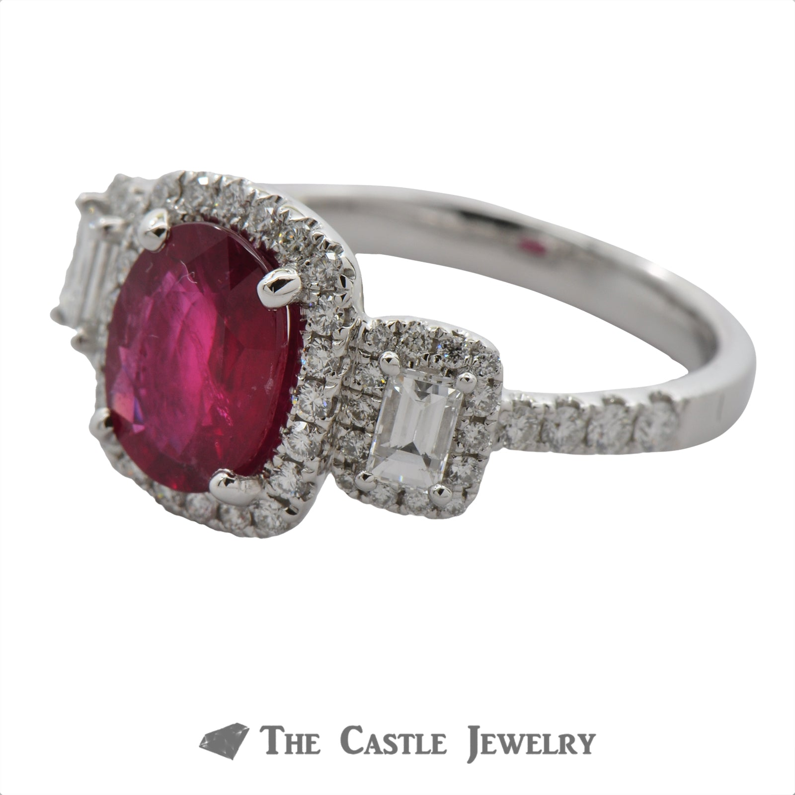 Deep Red Oval Ruby Ring with Emerald Cut Diamond Accents & Bezel-2