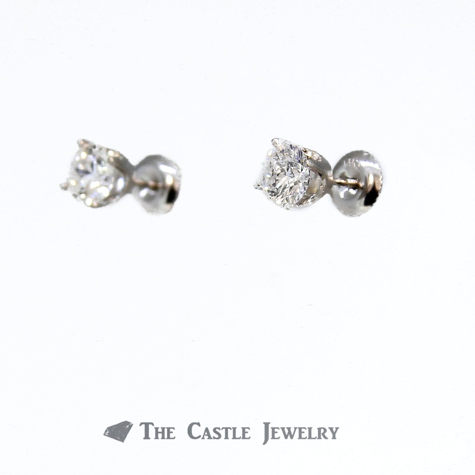 1.50cttw Round Brilliant Cut Diamond Stud Earrings in 14K White Gold-1