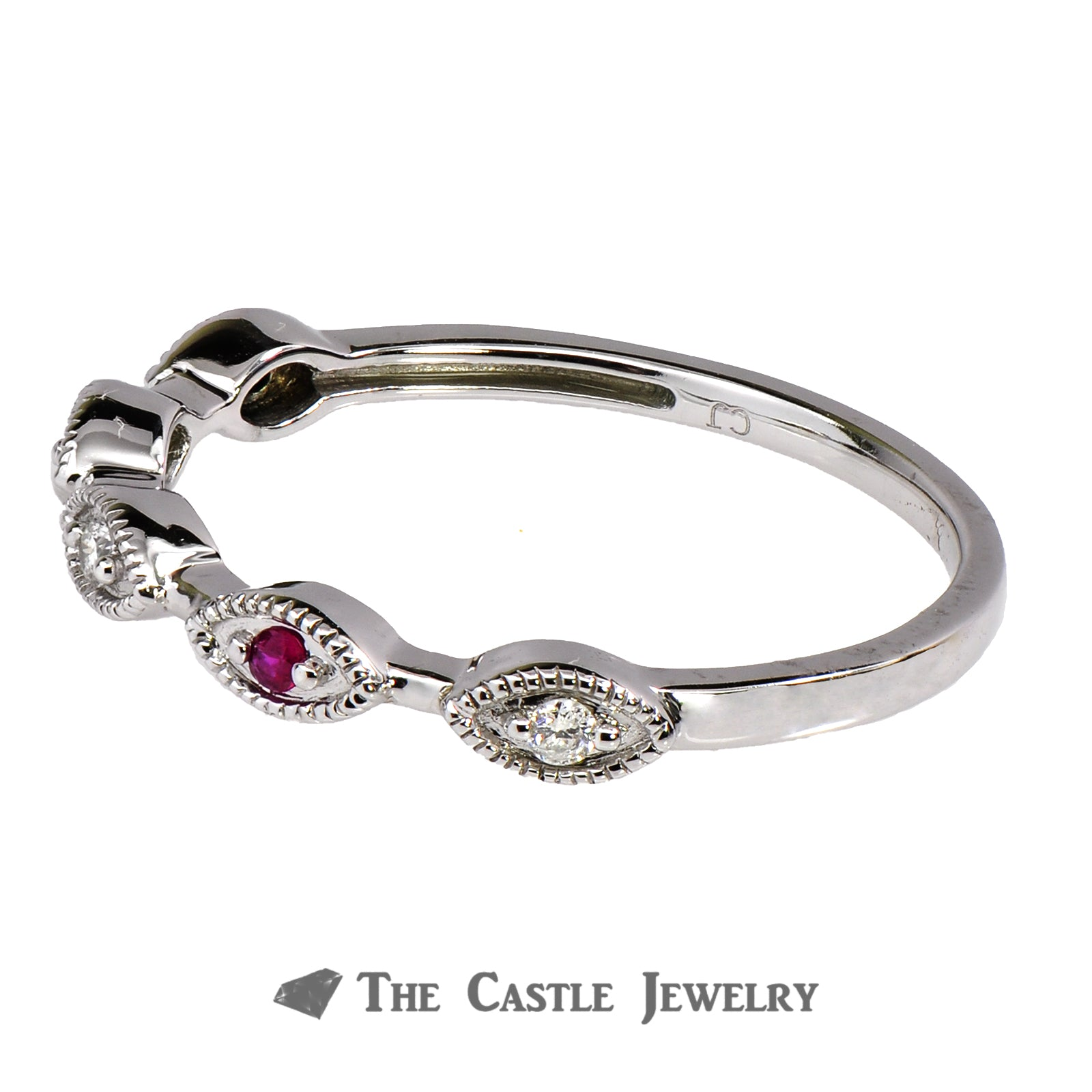 Ruby Stackable Ring with Diamond Accents in 10K White Gold