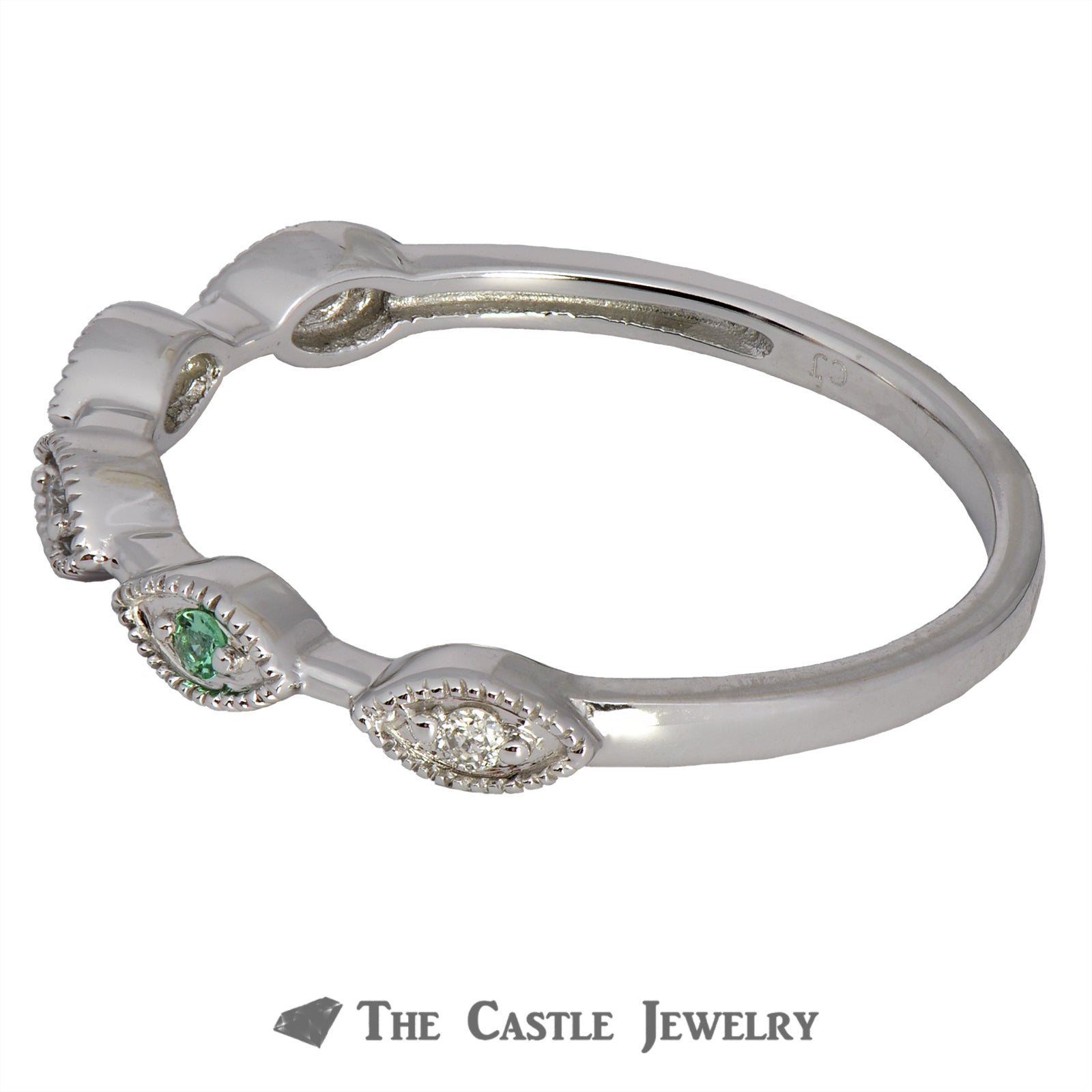 Emerald Stackable Ring with Diamond Accents in 10K White Gold-2