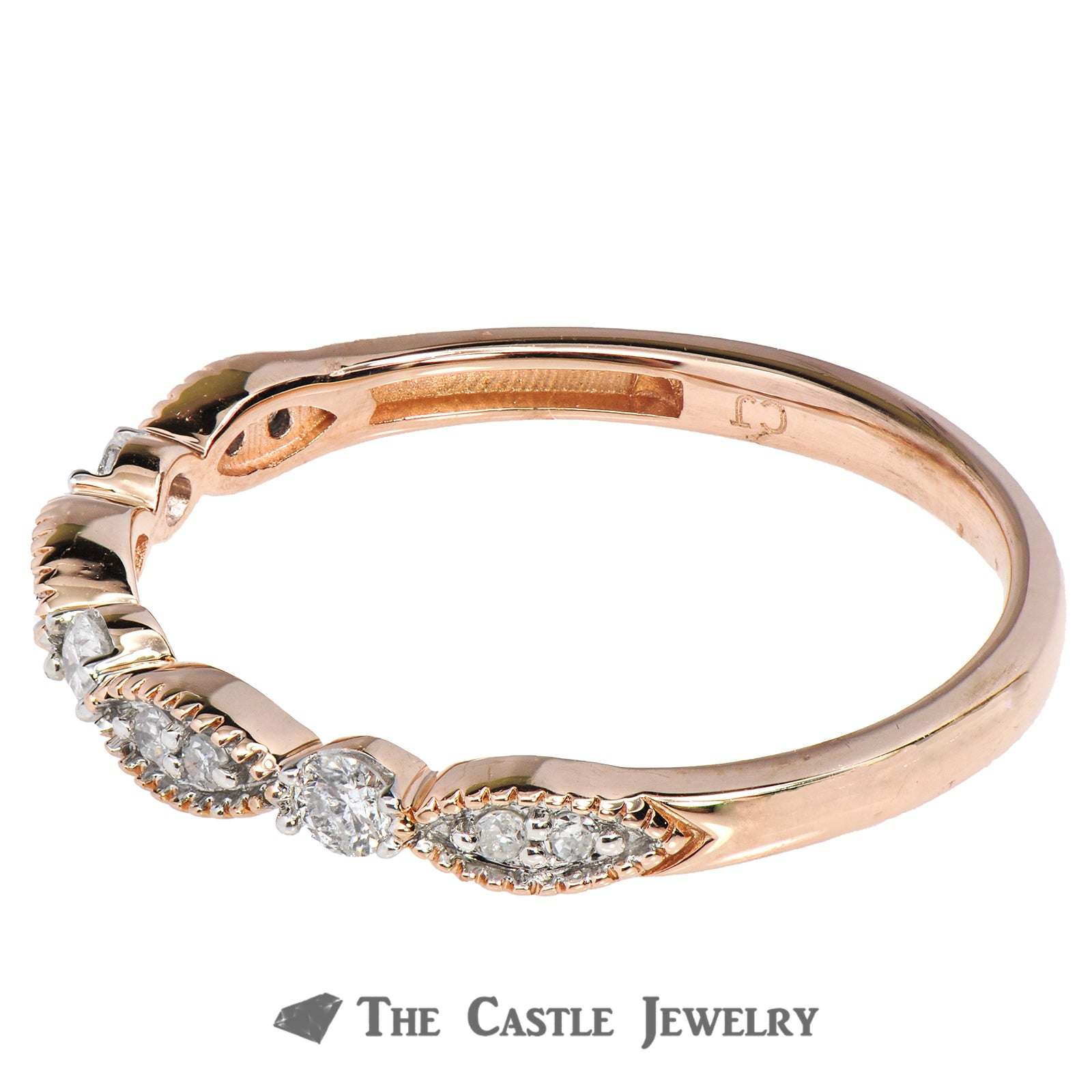 Diamond Layering Ring 1/5cttw in 14K Rose Gold Wave Design-2