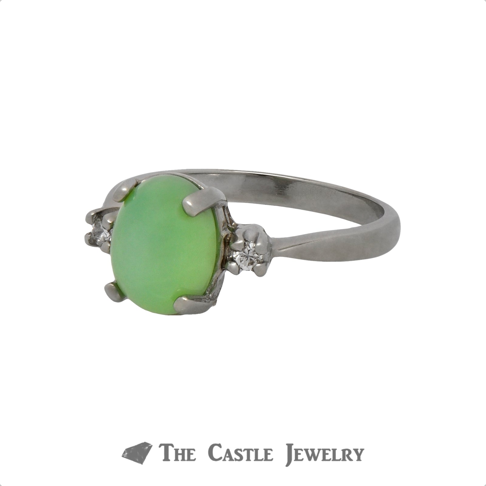Green Lindy Star Ring with Diamond Accents Crafted in 10k White Gold-2