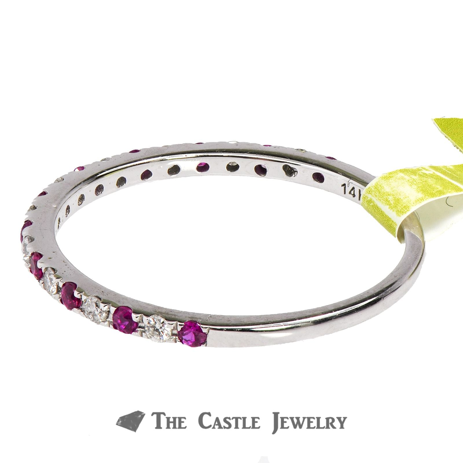 Ruby & Diamond Stackable Ring in 14K White Gold-2