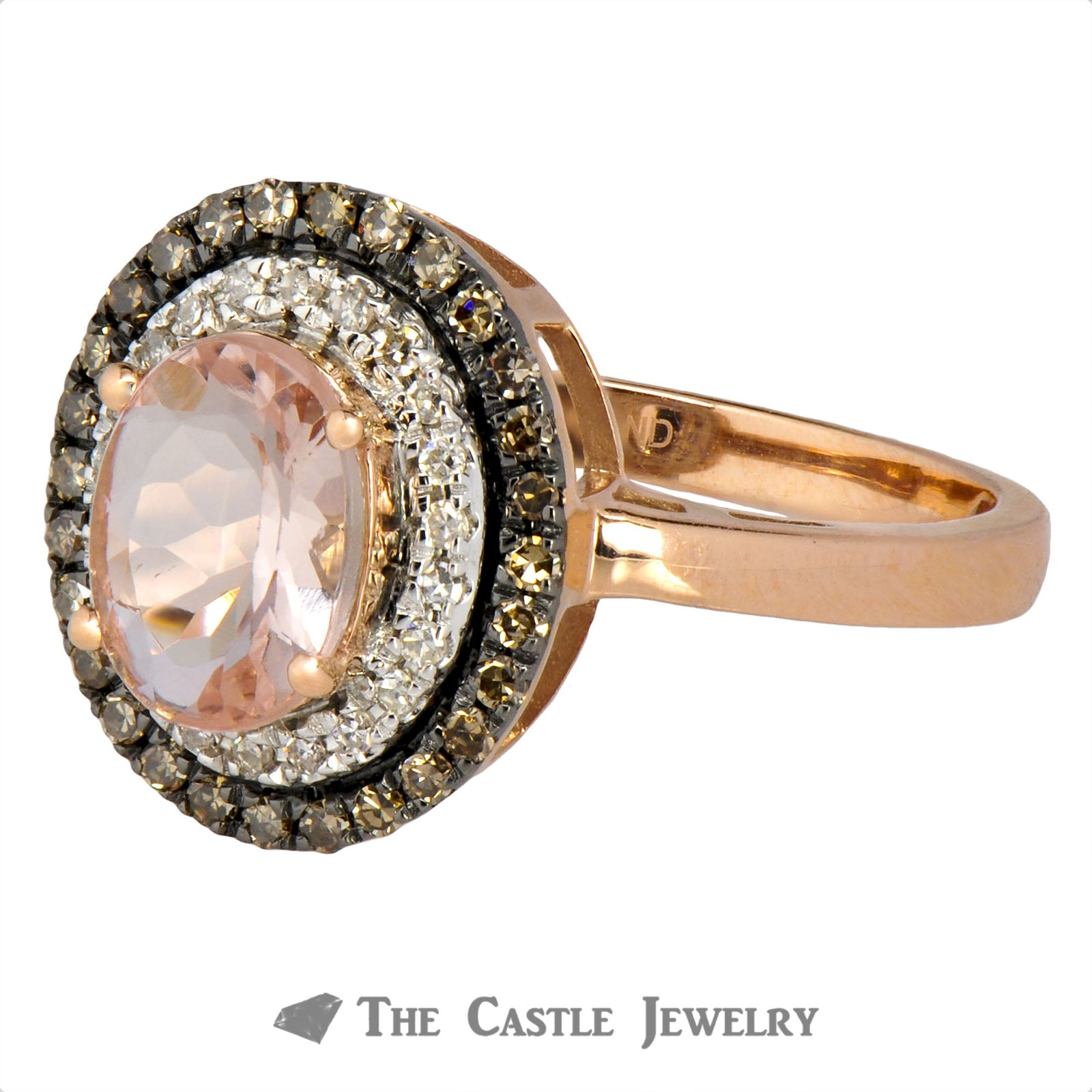 Double Halo Oval Morganite Ring with Round Chocolate Diamonds