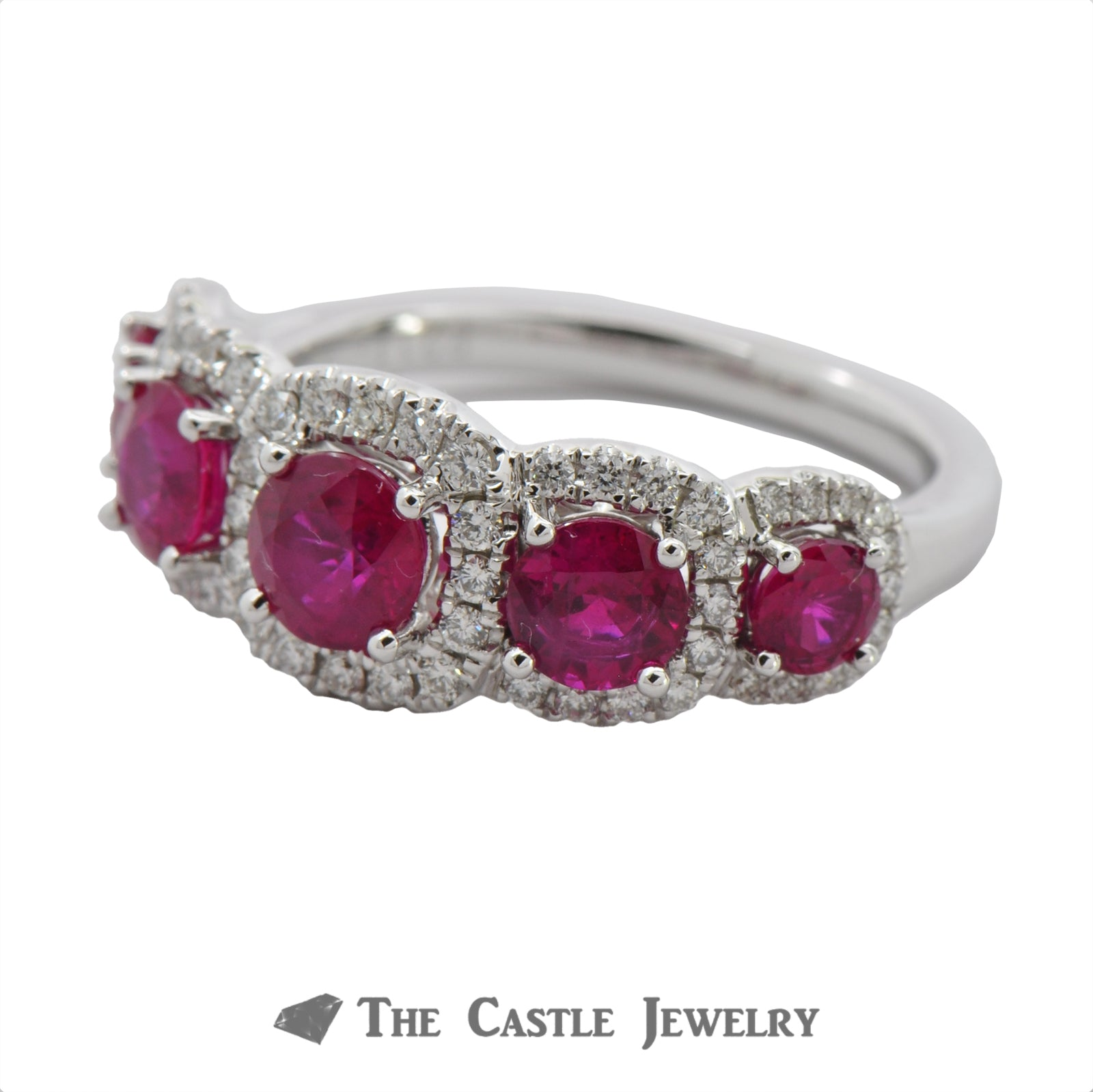Ruby Ring with Cushion Shaped Diamond Bezel in 18K White Gold-2