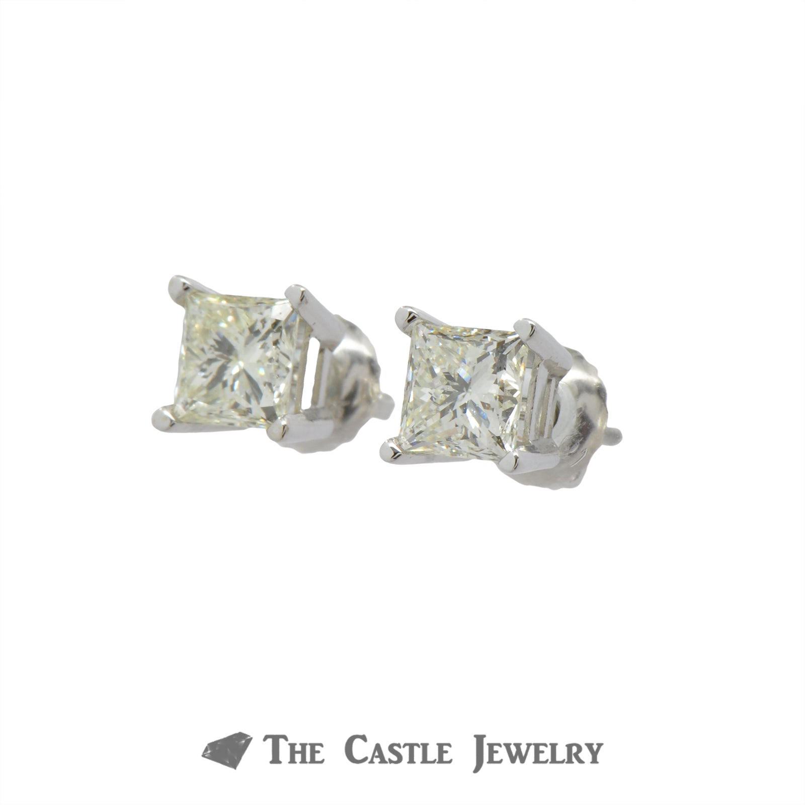 1.50cttw Princess Cut Diamond Stud Earrings in 14k White Gold-1
