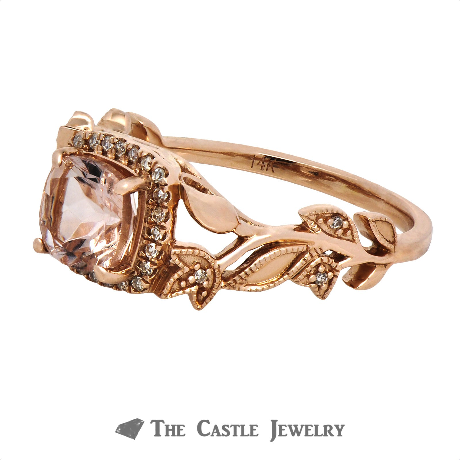 Cushion Cut Morganite Ring with Diamond Halo & Flower Design Rose Gold Mounting-2