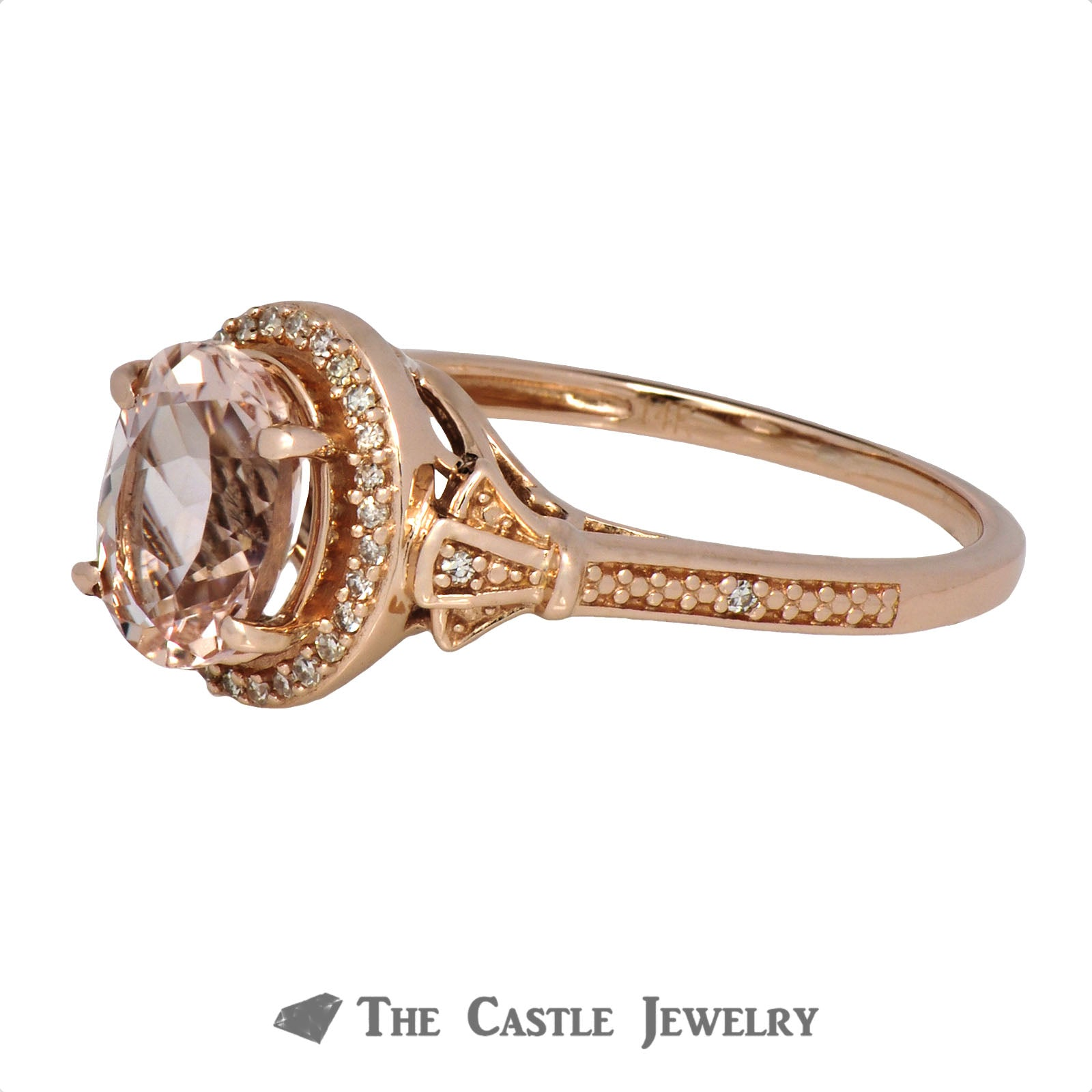 Oval Morganite Ring with Diamond Accents in 10K Rose Gold-2
