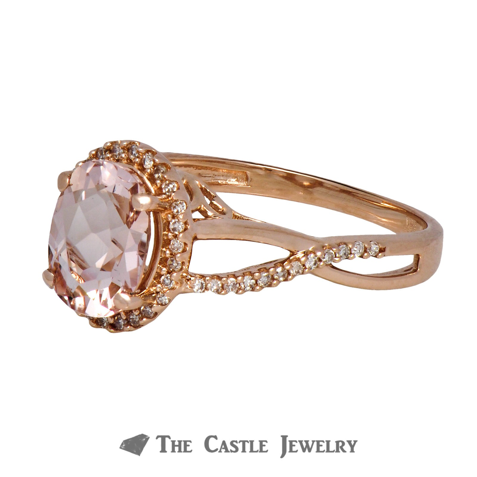 Morganite Ring with Diamond Bezel & Infinity Sides 14K Rose Gold-2
