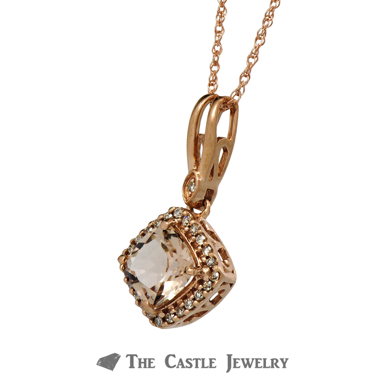 Cushion Cut Morganite Necklace with Diamond Bezel 14K Rose Gold-2