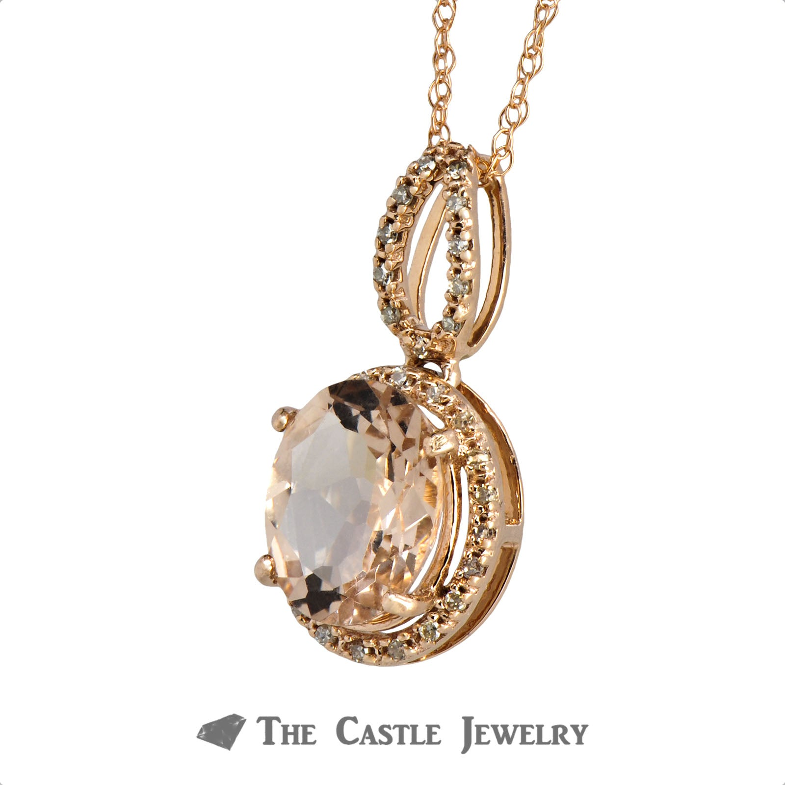 Oval Morganite Necklace with Diamond Halo & Bail in 14K Rose Gold-2