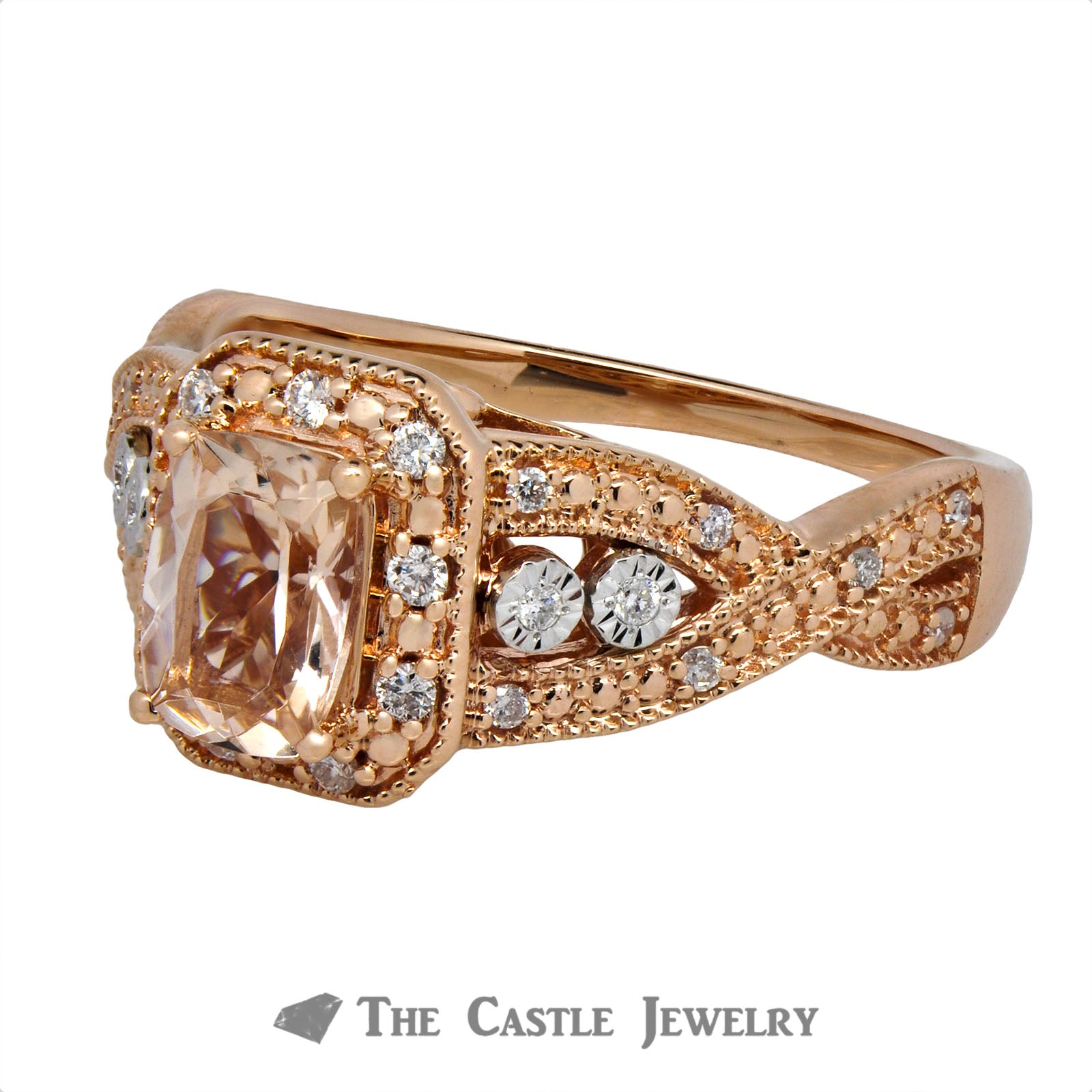 Cushion Cut Morganite Ring with Round Brilliant Cut Diamond Halo-2