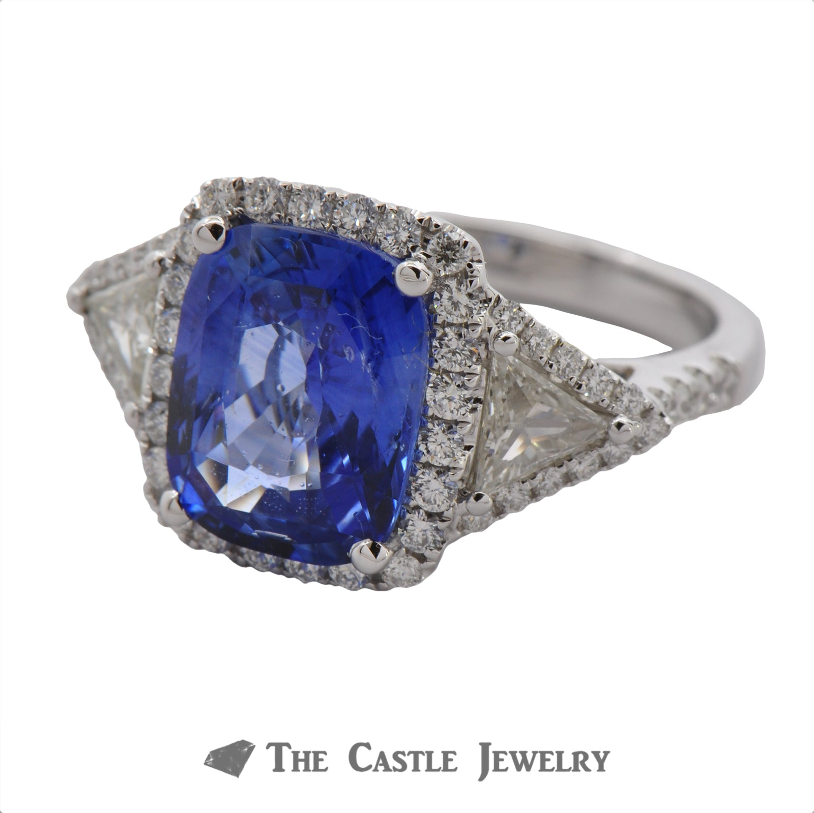 Cushion Cut Sapphire Ring with Trillion & Round Diamond Accents-2