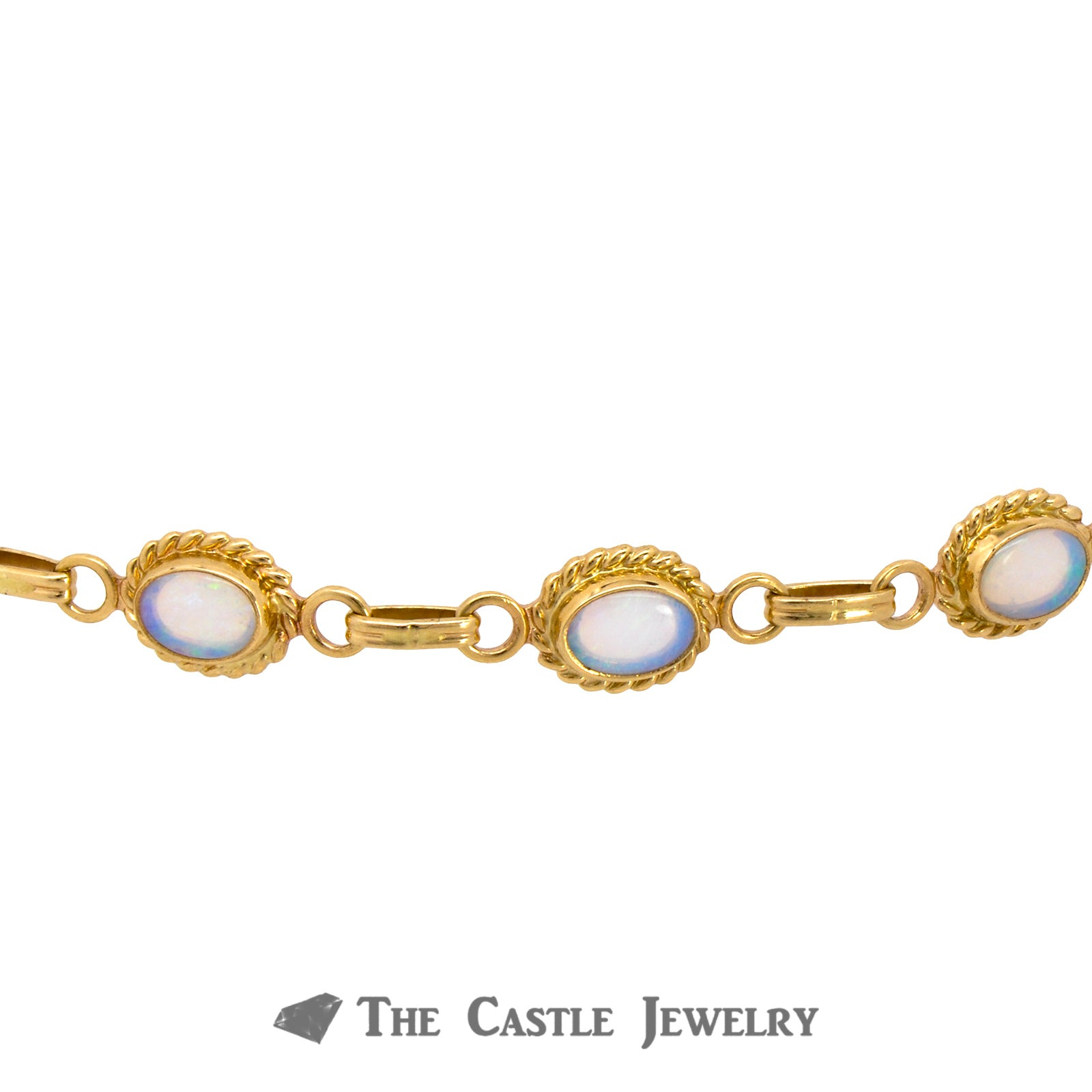 "7"" Oval Opal Bracelet with Rope Design Bezels Crafted in 14K Yellow Gold-2"