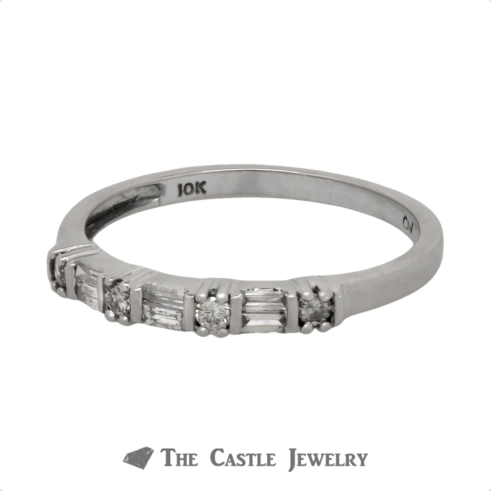 Baguette & Round Diamond Wedding Band in 10k White Gold-2
