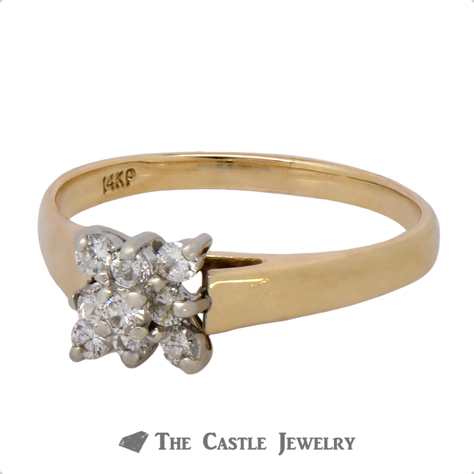 Square Diamond Shaped Cluster Ring in 14k Yellow Gold-2