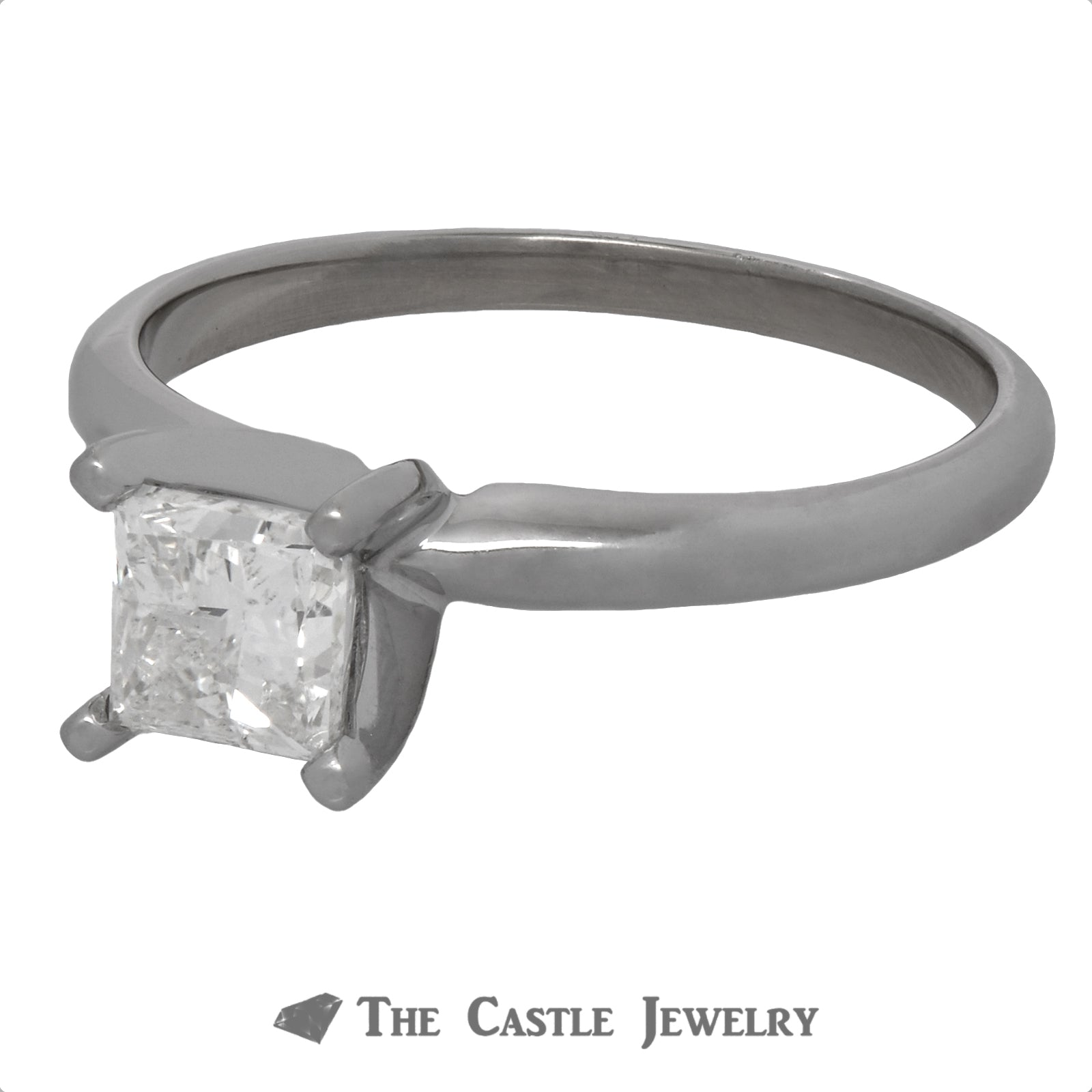 Princess Cut Diamond Engagement Ring Crafted in 14K White Gold-2