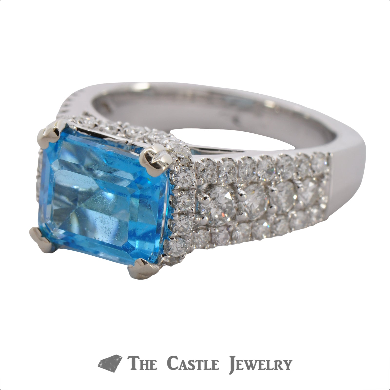 Side Set Emerald Cut Blue Topaz Ring in Diamond Encrusted Mounting-2