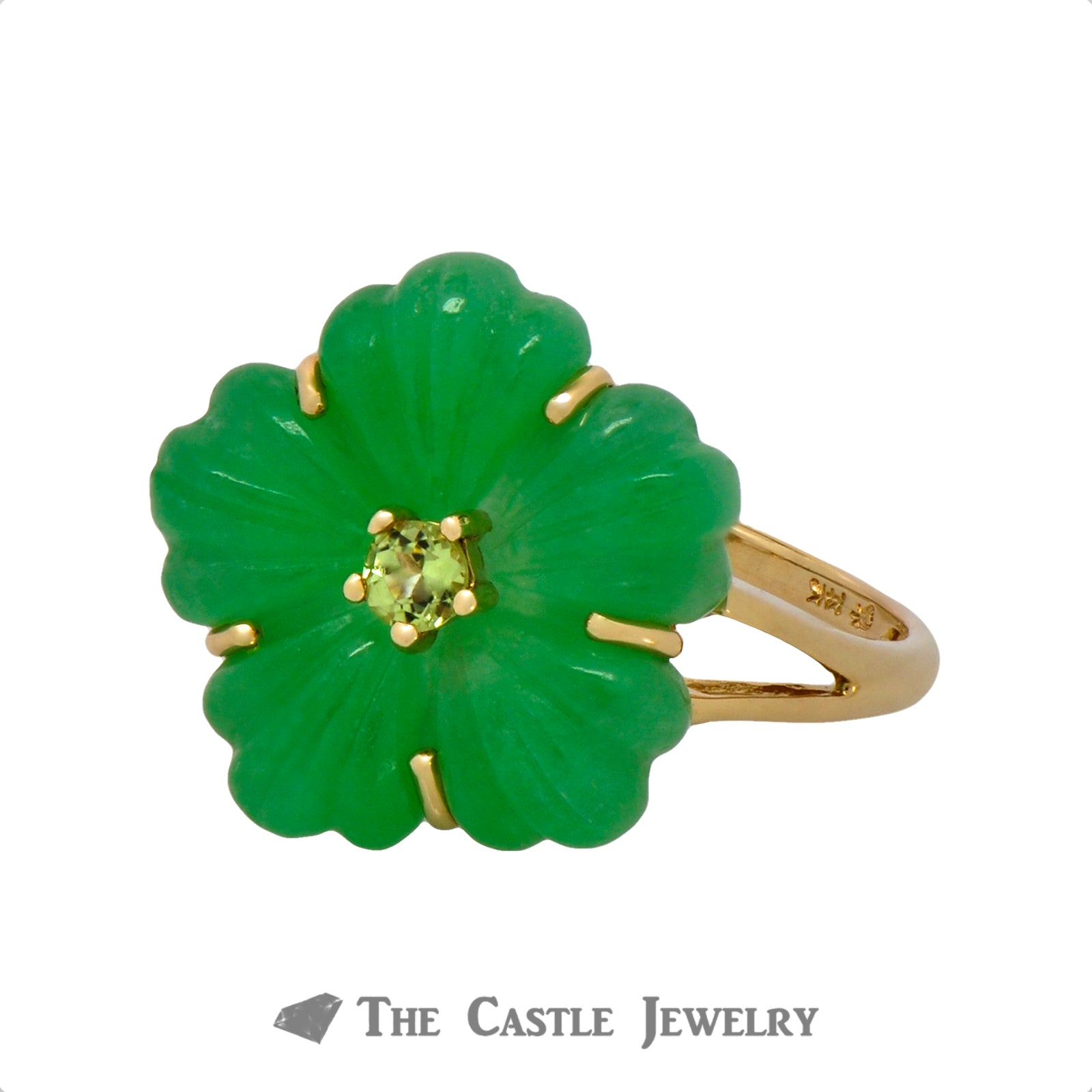 Unique Jade Flower Ring with Peridot Center in 14K Yellow Gold-2