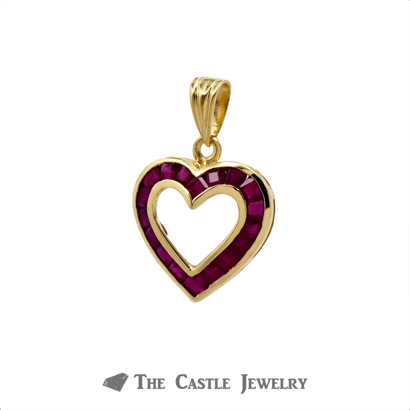 Heart Shaped Pendant with Channel Set Princess Cut Rubies in 14k Yellow Gold-1