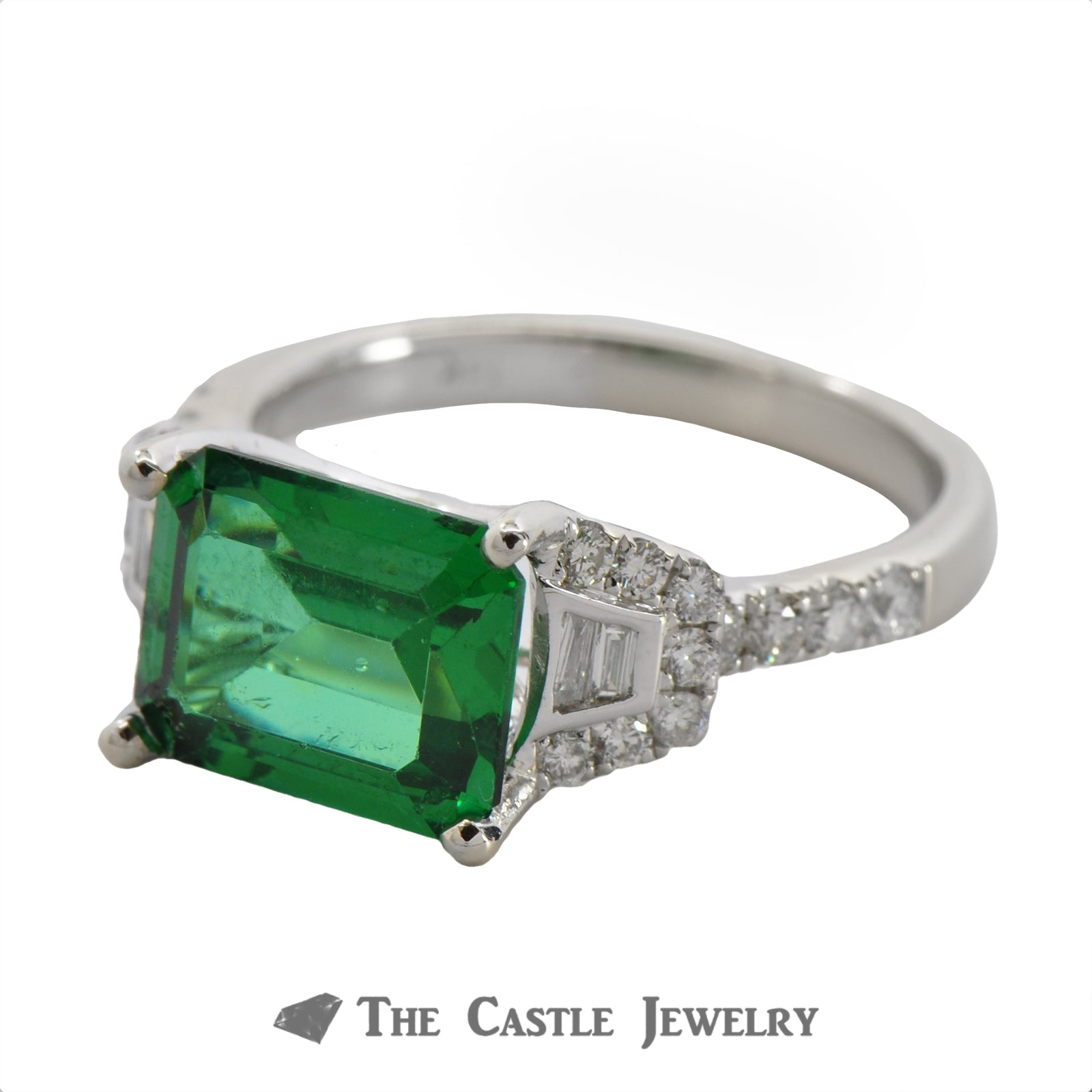 Side Set Green Spinel Ring with Baguette & Round Diamond Mounting-2