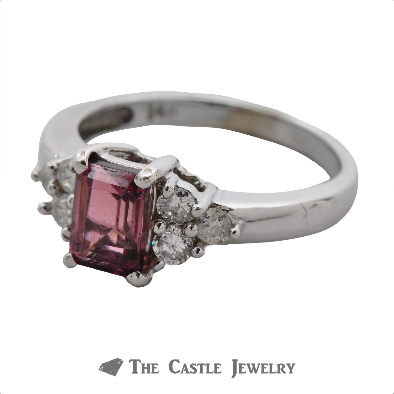 Emerald Cut Pink Rhodolite Garnet Ring with Diamond Accents-2
