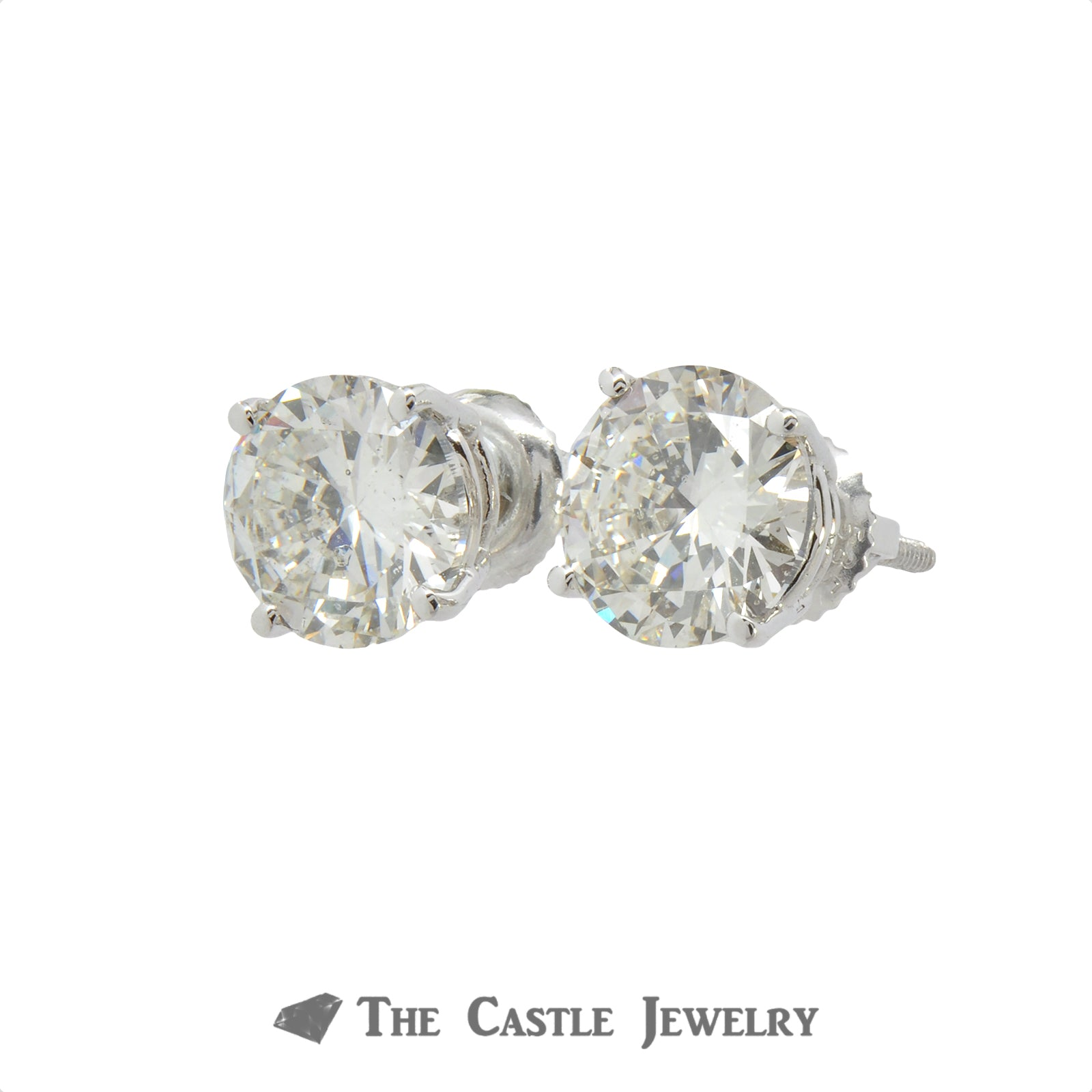 Lab Grown Round Brilliant Cut Diamond Stud Earrings 4.02 cttw In 14KT White Gold-1
