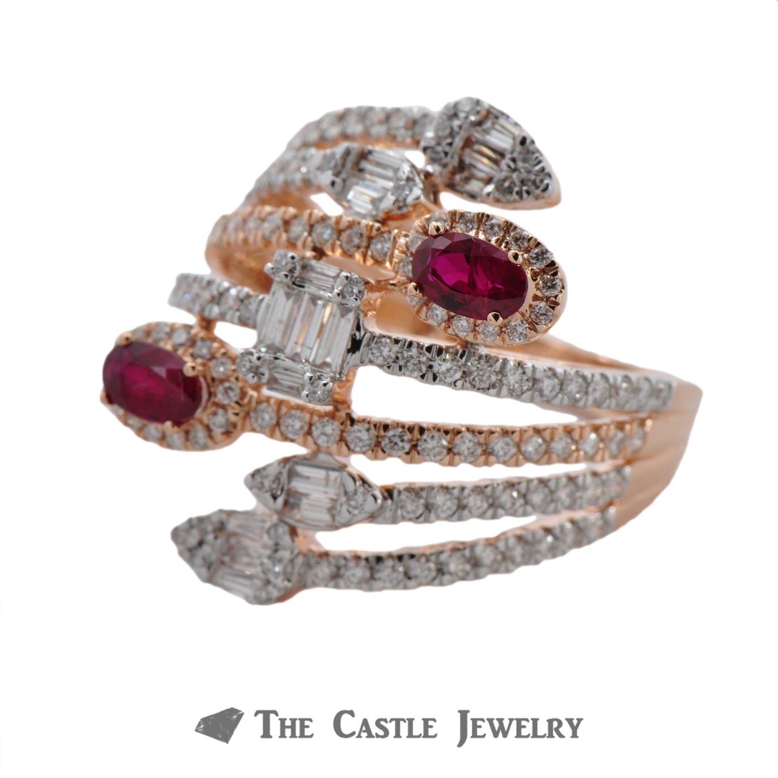 Diamond and Ruby Statement Ring in 14k Rose Gold-2