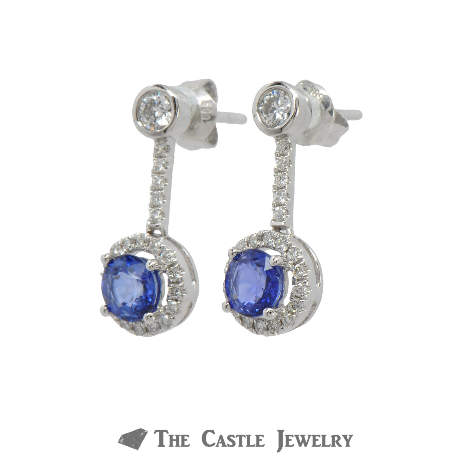 1.28cttw Round Sapphire Earrings with .50cttw Diamond Halo and Accents in 14k White Gold-1