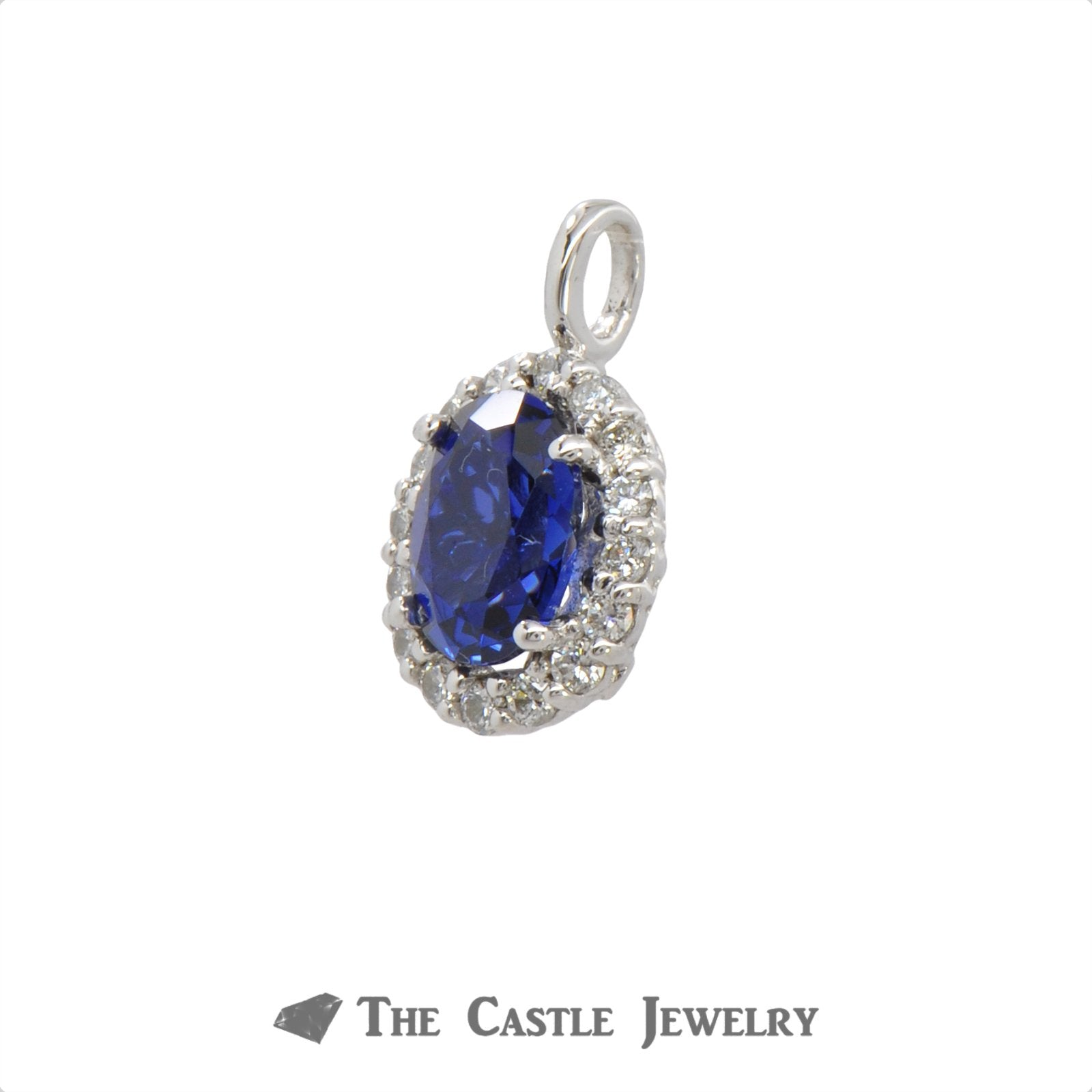 Diamond And Diffused Sapphire Pendant 1.95 ctgw In 14KT White Gold-1