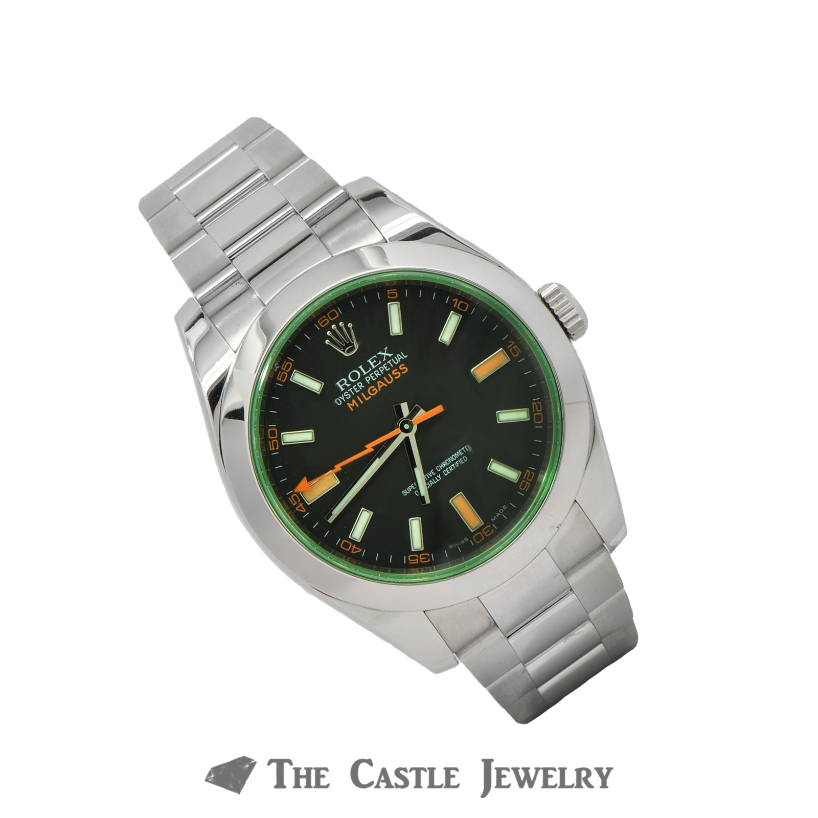 Rolex Milgauss Black Dial with Green Sapphire Crystal 116400GV-2