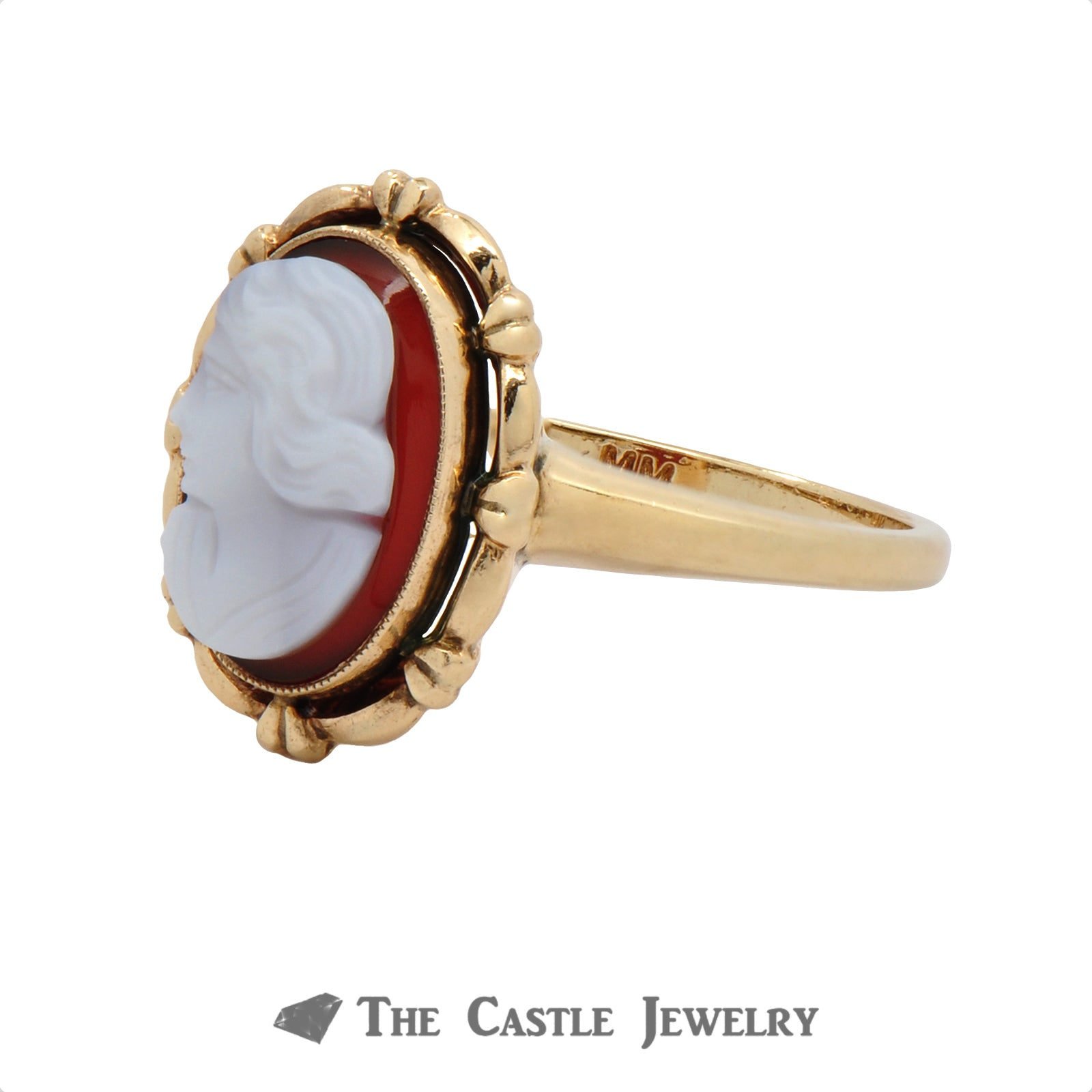 Vintage Brown Cameo Ring In 10K Yellow Gold-2
