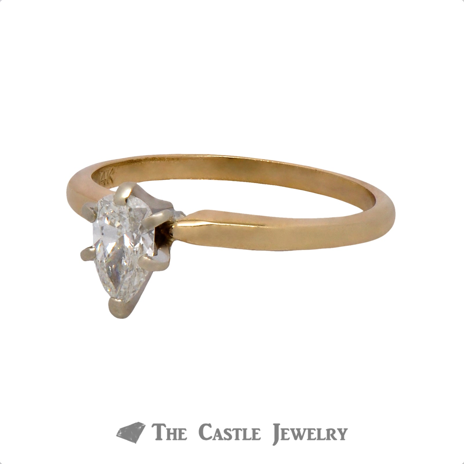 Pear Cut 1/2 carat Solitaire Engagement Ring in 14K Yellow Gold-2