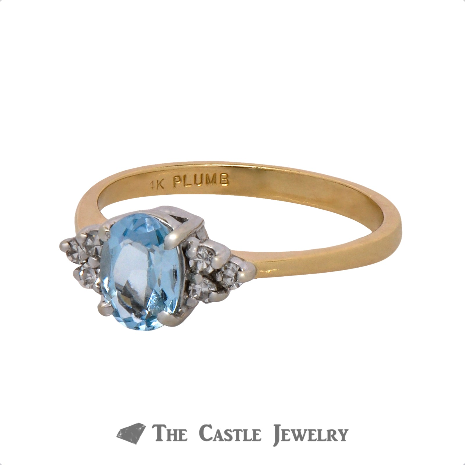 Oval Aquamarine Ring with .09cttw Double Diamond Cluster Accents in 14k Yellow Gold-2