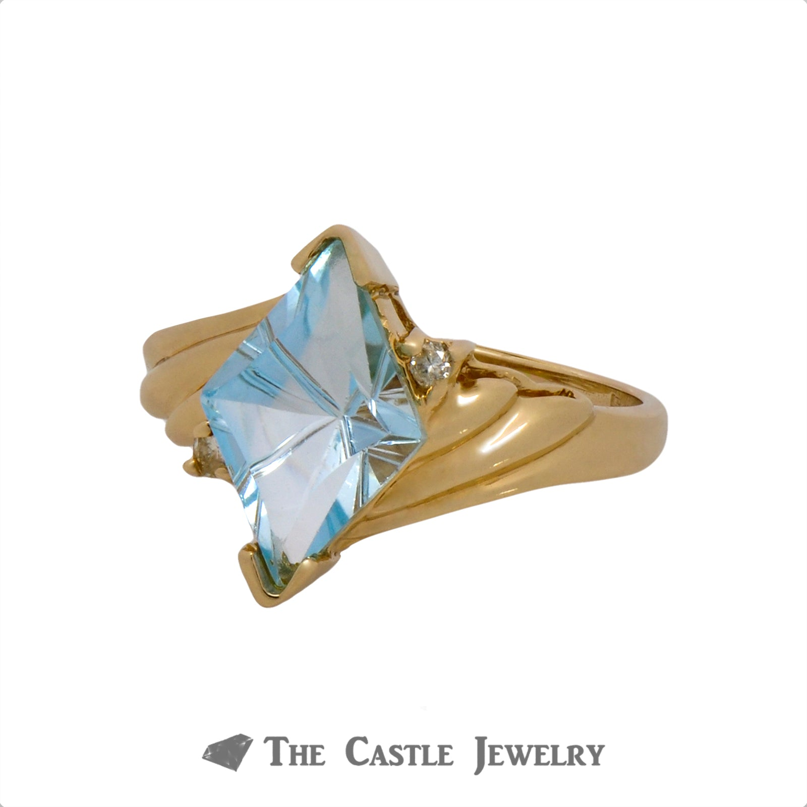 Unique Kite Cut Aquamarine Ring with Diamond Accents Crafted in Ridged 14k Yellow Gold Mounting-2