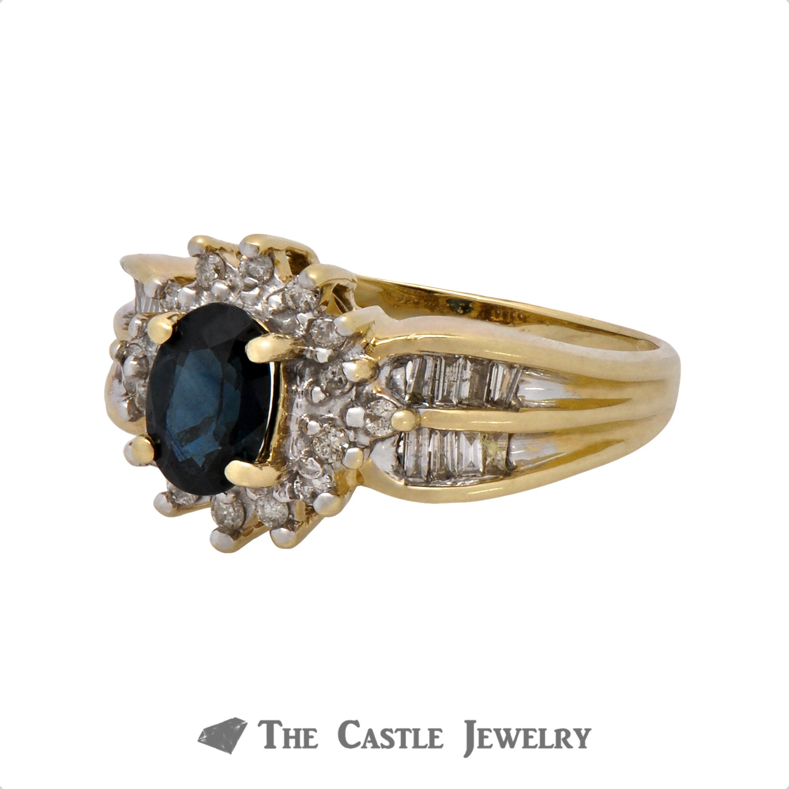 Oval Cut Sapphire Ring with .33cttw Diamond Halo & Accents in 10k Yellow Gold-2