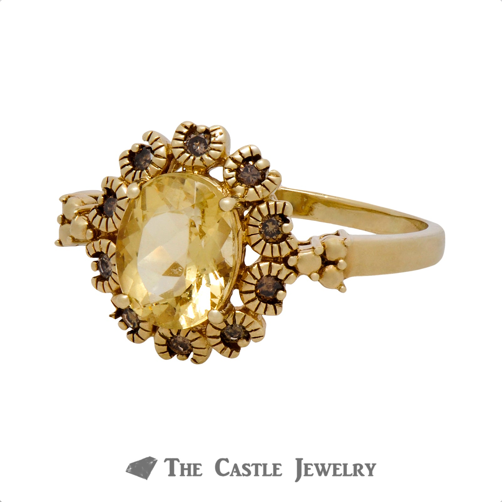 Oval Citrine Ring with .25cttw Illusion Diamonds in Beaded Bezel Crafted in 10K Yellow Gold