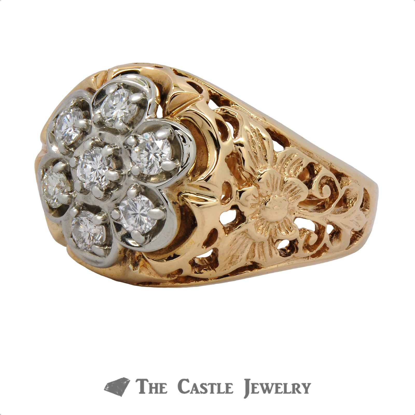7 Diamond Cluster Ring with Flower Filigree 10K Mounting-2