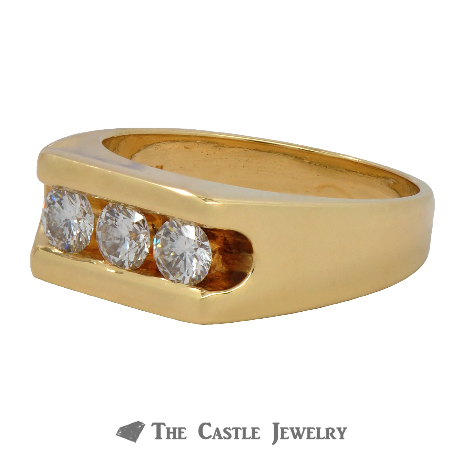 Gents 3 Round Brilliant Cut Diamond 1cttw Band in Yellow Gold-2