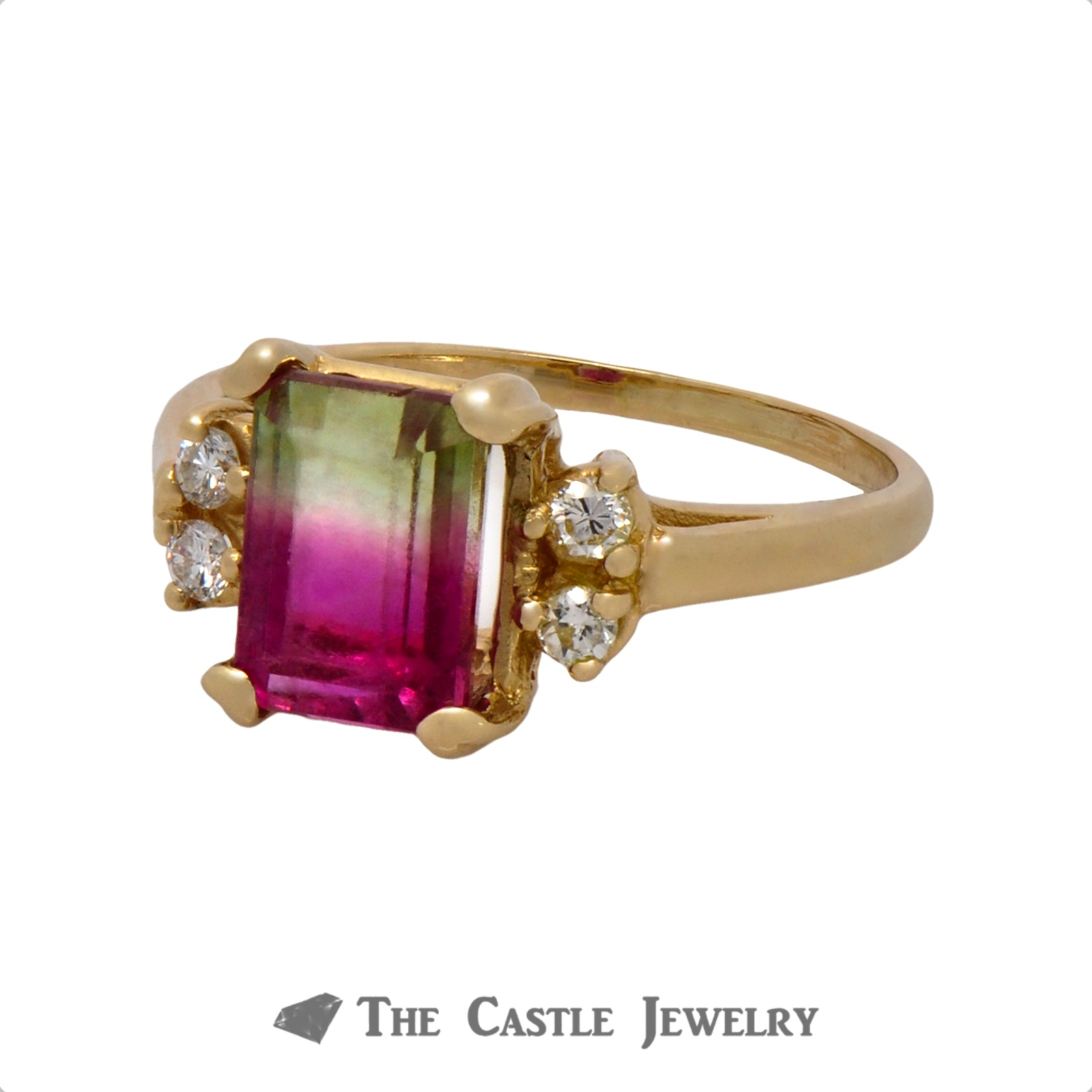 Watermelon Tourmaline Ring with Double Diamond Accents on Each Side Crafted in 14k Yellow Gold-2